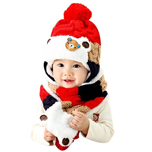 Knotted Fleece Scarf (WuyiMC Baby Winter Hat, Kids Boy Girls Cute Cartoon Knitted Warm Beanie Hood Scarf Cap (Red))