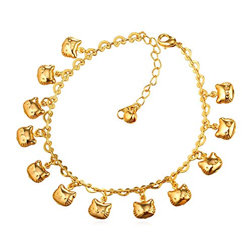 - U7 Cute Kitty Cat Charm Anklet 18K Gold Plated Foot Bracelet for Women Girls, 21-26 cm Long