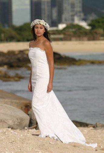 Kawehi Holoku Hawaiian Wedding Dress White XLarge at Amazon