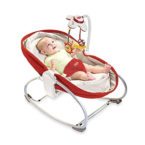 Delight and Enjoy Convenient height adjustment 3 in 1 Rocker Napper in Color Red