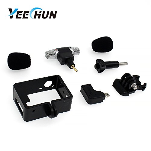 YEECHUN New Frame Housing Case + External Microphone + Adapter Kit for GoPro Hero 3 3+ 4 Replacement Part