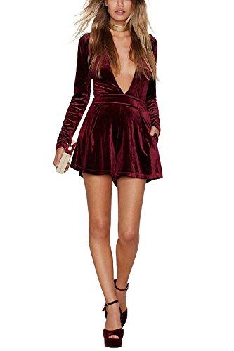 YOINS Women Sexy Playsuit V Neck Long Sleeves Velvet Jumpsuit Plunge Burgundy US 2