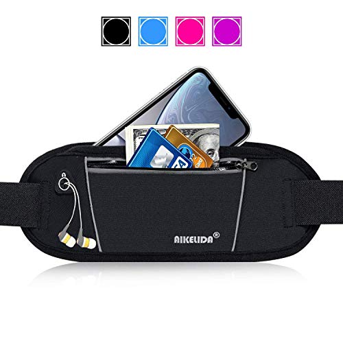 AIKELIDA Running Belt Fanny Pack - Runners Belt Waist Pack Fitness Gear Accessories - Running Pouch iPhone Xr Xs Max X 8 7 Plus for Women Men - Black