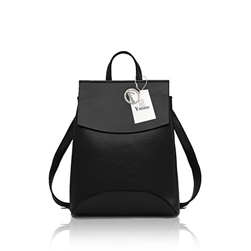 Leather Soft Black Bag Shoulder Vintage BookBag Women for Yoome Campus Backpack qEnPxaH