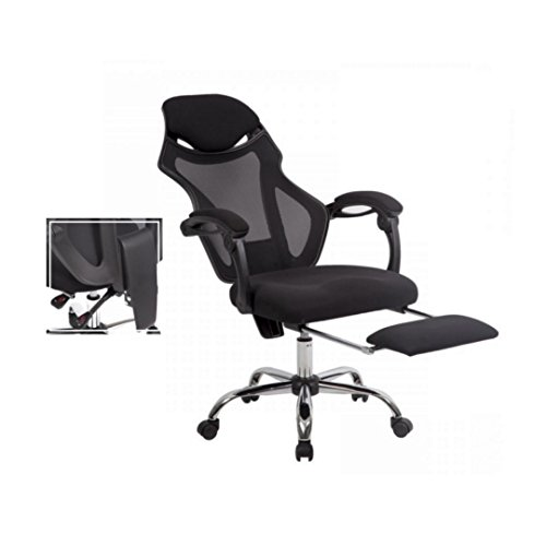 Ergonomic High Back Office Mesh Chair Comfortable Headrest Lumbar Support Recliner Seat Conventional Tilt Mechanism Computer Desk Home Office Furniture - Shops Airport Coast Gold