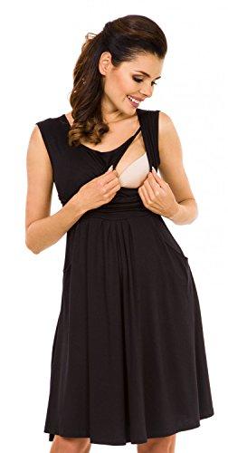 Zeta Ville Premamá - Vestido de lactancia efecto 2 en 1 - para mujer - 500c Negro