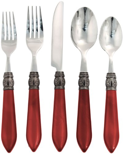 (Argent by Hampton Forge, Sophia Red, 20 Piece Flatware Set)