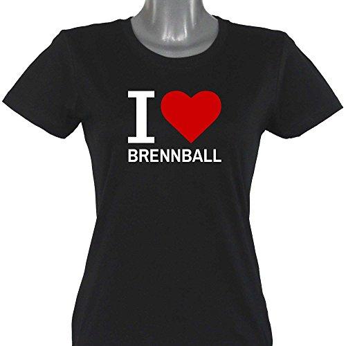 T-Shirt Classic I Love Brennball schwarz Damen Gr. S bis XXL