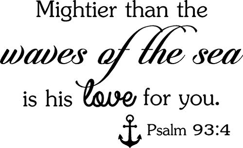 Ideogram Designs Wall Decal Mightier Than The Waves of The sea is his Love for You Psalm 93:4 Cute Wall Vinyl Religious Inspirational Quote Lettering Art Saying Sticker Stencil Nursery Wall Decor -
