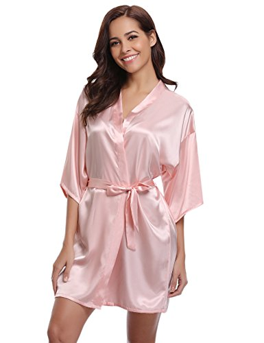 Aibrou Women/'s Kimono Robes Satin Pure Colour Short Style with Oblique V-Neck, Pink, Medium -