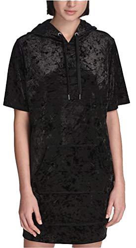 DKNY Sport Crushed Velvet Hoodie Dress; Black (Small) ()