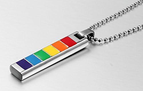 Joielavie Collier Pendentif pour Homme Femme en Acier avec Cha/îne Barre Rectangle Arc-en-Ciel Rainbow Gay Lesbien LGBT Fiert/é Bijoux