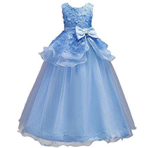 Princess Bride Dresses (IWEMEK Kids Girl Ruffles Tulle Princess Dress Lace Flower Wedding Pageant Floor Length Prom Dresses Evening Dance Maxi Gown)