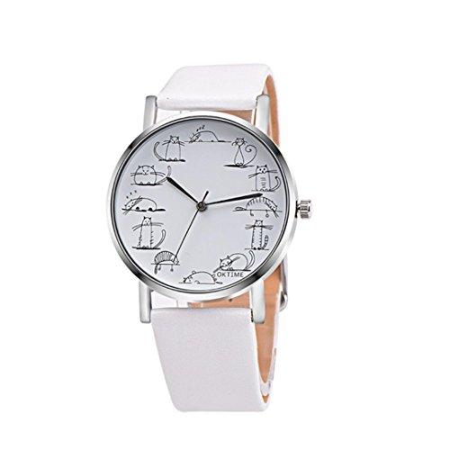 AmyDong Lover's Watches Women Men Watch Lovely Cartoon Cat Leather Band Analog Alloy Quartz Wrist Watch (White) ()