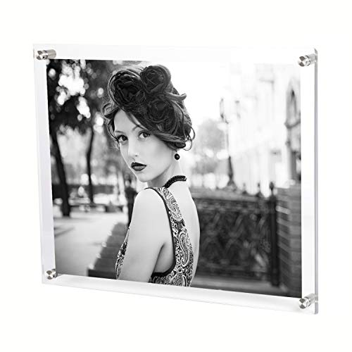 Bloberey 8.5 x 11 Acrylic Picture Frames Wall Mount Photo Frame Frameless Clear Floating Frame for Document Certificate Artwork(4 Pack)