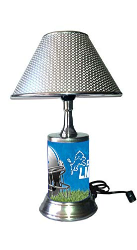Rico Table Lamp with Chrome Colored Shade, Detroit Lions Plate Rolled in on The lamp Base