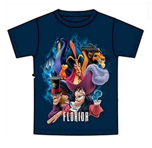 Disney Youth Boys Tee Shirt Bad Dudes Jafar Captain Hook, Scar, Navy Blue (Florida Namedrop)