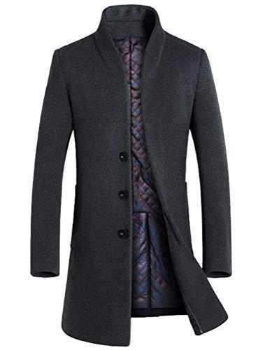 Mordenmiss Men's French Woolen Coat Business Down Jacket Trench Topcoat Fleece Gray L