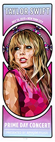 Amazon Music Unisex Taylor Swift Concert Poster White 24.25 in x 9.5 -