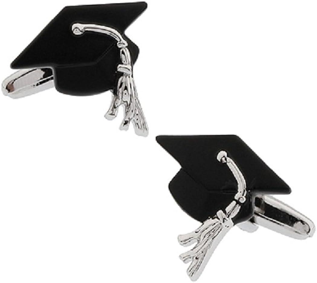 MRCUFF Graduation Cap Mortarboard Hat Pair Cufflinks in a Presentation Gift Box & Polishing Cloth