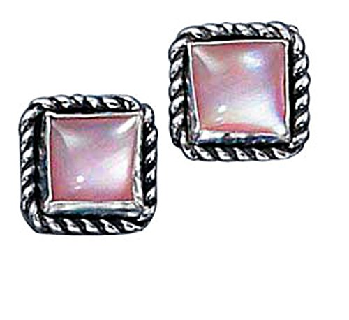 Sterling Silver Square Roped Edge Pink Mother of Pearl Post Stud Earring