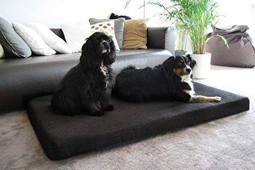 Tierlando Orthopaedic Dog Mattress Anton Visco plus Polyester Mélange Modern Handweb Character  Eyecatcher  L 95x70x9 cm Anthracite Black