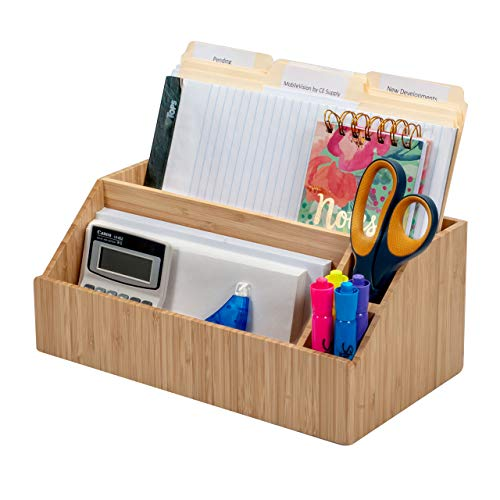 - MobileVision Bamboo Desktop All-in-One Organizer for File Folders, Notepads, Pens, Stationary Items, Small Electronics and More