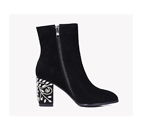 wdjjjnnnv Fashion Hand-sewn Rhinestone Mosaic Madam High heel Ankle Boots Shoes 120W FMfpm