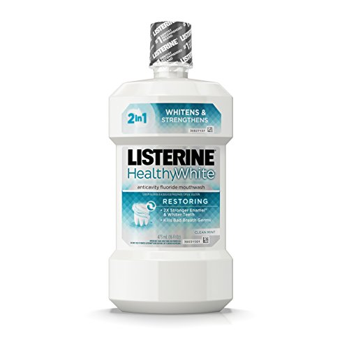 Listerine Healthy White Restoring Fluoride Mouth Rinse, Anticavity Mouthwash for Teeth Whitening, Bad Breath and Enamel Restoration, Clean Mint, 16 fl. Oz ()
