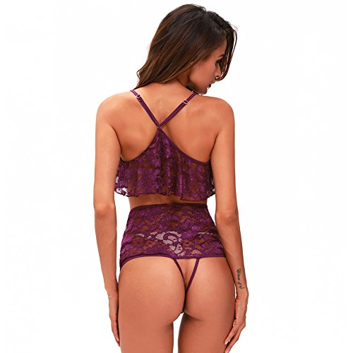 Rookay Lace Chemise Lingerie for Women Plus Size Sexy Sleepwear Sheer Mesh Floral 2 Piece Pajamas with High Waisted Bottom (Purple, XXXL) by Rookay (Image #6)