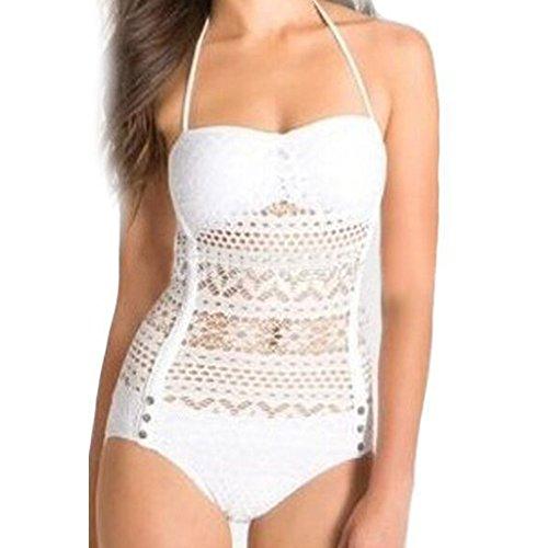 Zmart Women's Sexy Crochet Lace Halter Bandeau Push up Swimsuits Bathing Suit,White,Label size L=US S (4,6)