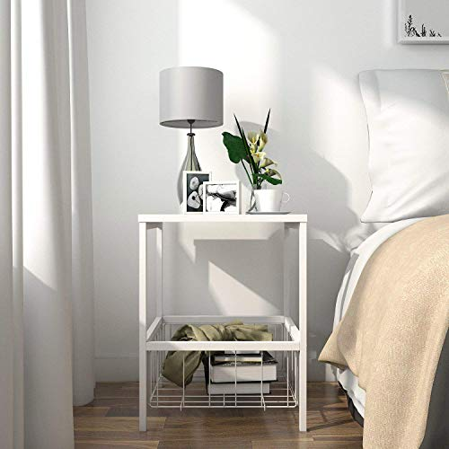 Lifewit 2-Tier Nightstand with Storage Basket, Sofa Table End Table for Bedroom Living Room, Modern Design, White, 15.8 × 15.8 × 20.0 inches ()