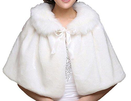 美しい 花嫁 ウエディング ボレロ ( フラワーシャワー 付) フェイク ファー 結婚式 ブライダル ホワイト 白