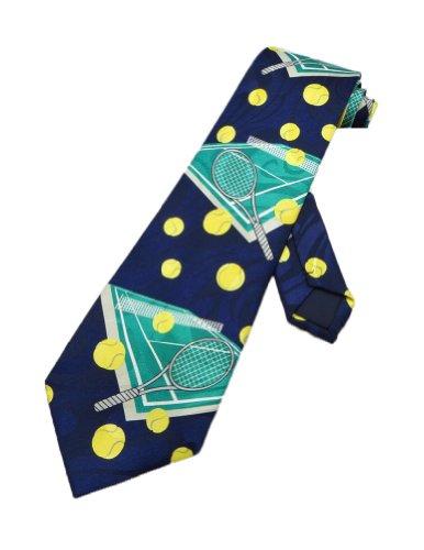 Steven Harris Mens Tennis Balls and Racquet Court- Blue - One Size Neck Tie