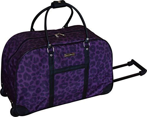 Isaac Mizrahi 22 Inch Printed Rolling Duffel Bag- Wheeled Luggage (Plum) ()