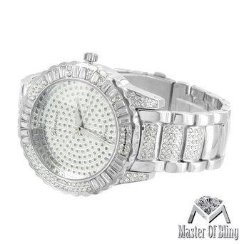 Round Face Baguette Watch Lab Diamonds Iced Out Geneva Silver Finish Steel - Watch Diamond Platinum