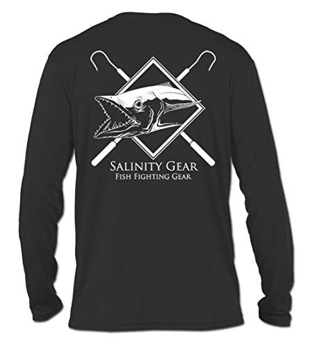 - Salinity Gear Performance Fishing Shirt- UPF 50+ Dri-Fit Shirt (Small, Carbon Kingfish)