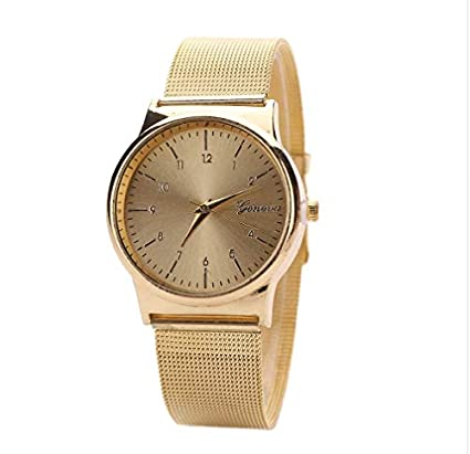 MALLOOM ChicChillShop Geneva Watch Womens Rose Gold Watches Reloj Mujer Clock Simple Bracelet Watch Mesh Stainless