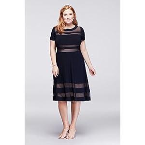 1e9990fc David's Bridal Illusion Stripe A-Line Plus Size Short Mother Of Bride/Groom  Dress Style.