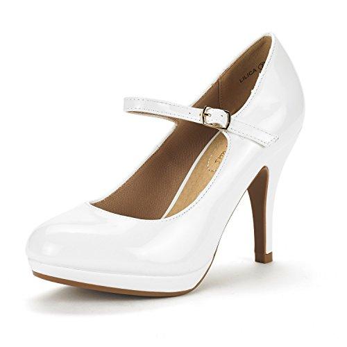 DREAM PAIRS Women's LILICA White Pat Mary-Jane Close Toe Stilleto Platform Heel Pump Shoes - 7.5 M US