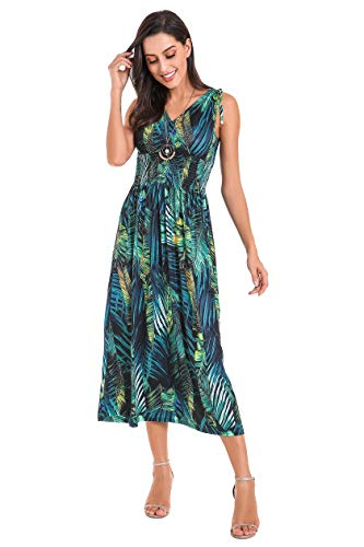 Le Vonfort Floral Long Dresses for Womens, Wrap Bodice Sleeveless Crossover Maxi Dress Green Flower X-Large