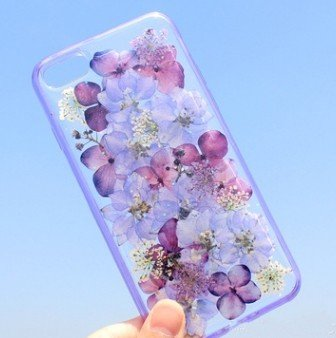 iPhone 8 Case/iPhone 7 Case(4.7inch),Blingy's Real Beautiful Dry Flower Series Transparent Clear Soft TPU Clear Protective Case for iPhone 8/iPhone 7 (Solid Purple -