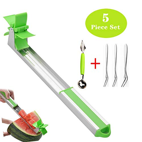 Windmill Watermelon Slicer Creative Stainless Steel Watermelon Cube Cutting Machine, Melon Cantaloupe, etc - With a Multi-function Spoon and Three Small Forks.