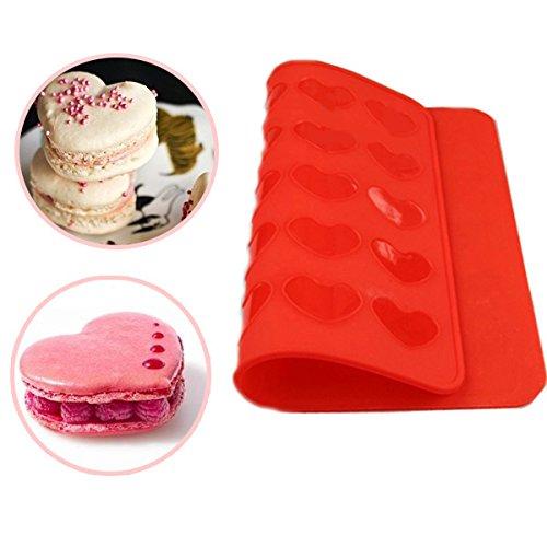 EoamIk Flexible et polyvalent Macaron Mat, Plateau en silicone en forme de coeur Tapis en silicone Outil de cuisson