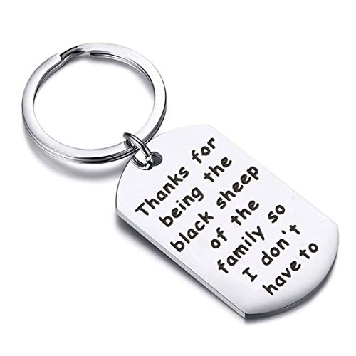 Zuo Bao Funny Brother Sister Birthday Gift for Brother Thanks for Being The Black Sheep of The Family So I Don't Have to Keychain Gift for Friend Family Jewelry (Black Sheep)