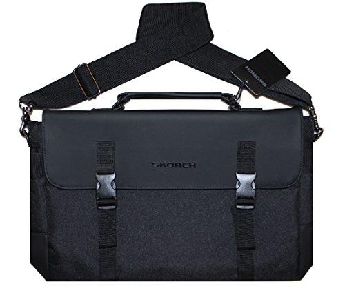 SKORCH Design Messenger Bag, Laptop Bag for Men and Women. Ideal for Work, School, Travel. Multiple Pockets and Extra Long 58 Inch Adjustable Shoulder Strap. (16 x 11 x 4, Black with PU (Female Sonic The Hedgehog)