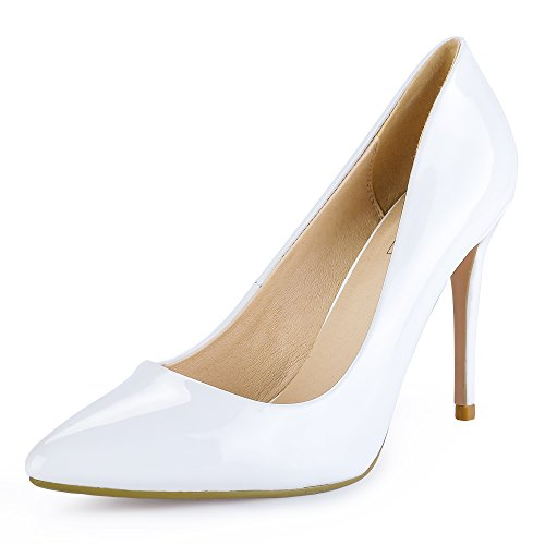 IDIFU Women's IN4 Classic Pointed Toe Stiletto High Heel Dress Pump (9.5 B(M) US, White Patent)