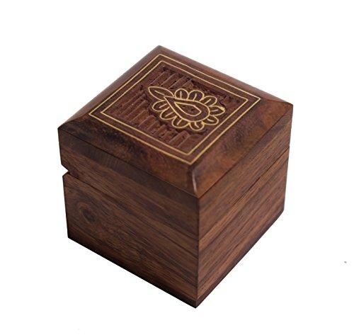 Hashcart Handmade Wooden Jewelry Box - Designer Trinket Box for Women/Girls