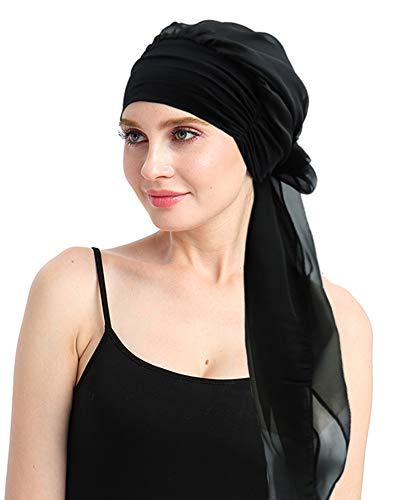 Black Turban Bandana Scarf For Chemo Women Headwear Head Cover For Cancer ()