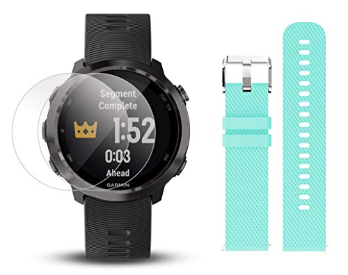 Garmin Forerunner 645 Music Bundle with Extra Band & HD Screen Protector Film (x4) | Running GPS Watch, Wrist HR, Music & Spotify, Garmin Pay (Slate + Music, Teal) by PlayBetter (Image #1)